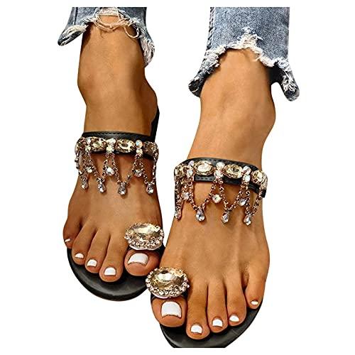 Aniywn Women's Bohemia Bling Rhinestone Pearl Toe Ring Sandals Slippers Summer Flat Flip Flops Beach Shoes Black