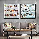 Cuadros abstractos de pájaros de animales decoración moderna para el hogar pintura en lienzo arte de pared impresión cartel de acuarela modular para decoración de sala de estar 50x50cmx2 sin marco