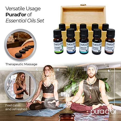 PURA D'OR Perfect 10 Essential Oil Wood Box Set 10mL USDA Organic 100% Pure Therapeutic Grade (Tea Tree-Lemon-Lavender-Sweet Orange-Rosemary-Lemongrass-Frankincense-Peppermint-Eucalyptus-Cedarwood)