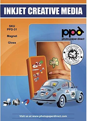 PPD A4 x 5 Blatt PREMIUM Inkjet Magnet Fotopapier (Magnetpapier) Glänzend - individuell bedruckbar und zuschneidbar für Kühlschrankmagneten und Bastelarbeiten uvm DIN A4 x 5 Blatt PPD031-5