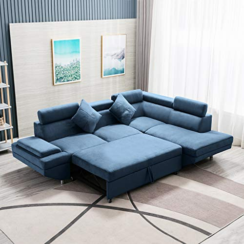 FDW Sofa Bed Sectional Sofa Futon Sofa Bed Sleeper Sofa for Living Room Furniture Set Modern Sofa Set Corner Sofa Upholstered Contemporary Fabric, Blue