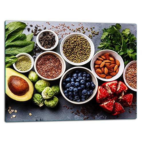 TMK   Glasschneidebrett, Herdabdeckplatte ceranfeld 1-telig 52x40, Glasschneideplatte, Spritzschutz, Universal Glasplate, Küche, Gemüse