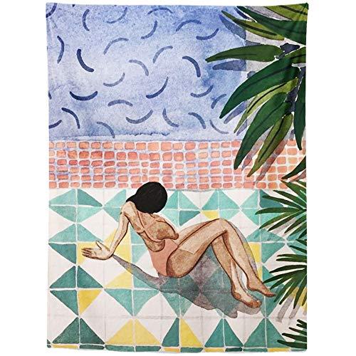 N / A Sommerblatt Tapisserie Wandbehang Tropische Palmblätter Pflanzen Wanddekor Tier Tapisserien Hintergrund Teppich A2 150x130cm