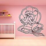 wZUN Divertida Sirena Pegatina de Pared autoadhesiva Vinilo calcomanía habitación de niños habitación Infantil 33X38cm