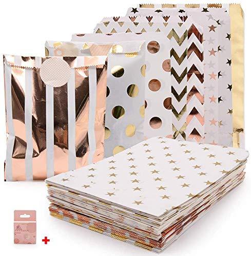 Rosé Gold Partytüten, SPECOOL Papier Leckerlis Tüten mit Beutel Aufklebern Ölbeständige Snack-Tüte Langlebige Hochzeit Süßigkeitsbehälter-Papiertüten für Plätzchen Backwaren Süßigkeitstasse 5 x 7 Zoll