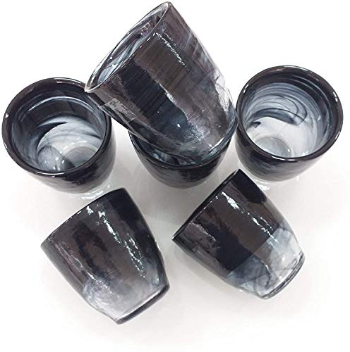 Servizio bicchieri acqua in vetro, set 6 pezzi cl 30 moderno modello new isotta colore NERO