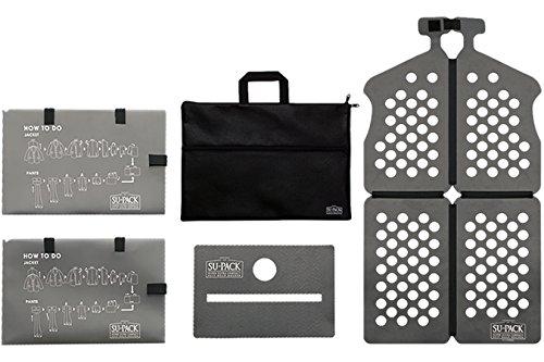 SU-PACK Clean Black スーツを4分の1にコンパクト収納。[世界初]特許ホルダーでビジネスバッグやキャリーケースに入る[世界最小級]ガーメントケースセット 5点セット(スーパック クリーン[抗菌・消臭])[男性用]((黒)