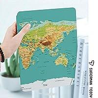 IPad 2 3 4ケース レザー 軽量 薄型 2つ折スタンド マグネット 磁気吸着 オートスリープ/ウェイク機能ケ 全面保護カバー アップルiPad 2/3/4 対応ipad3 ケース 世界の地理的大陸と国の地図物理的地図作成画像