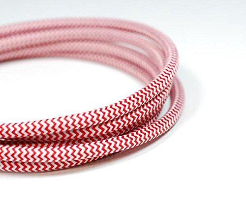 Câble d'éclairage vintage en tissu | Rouge et blanc | 3 fils