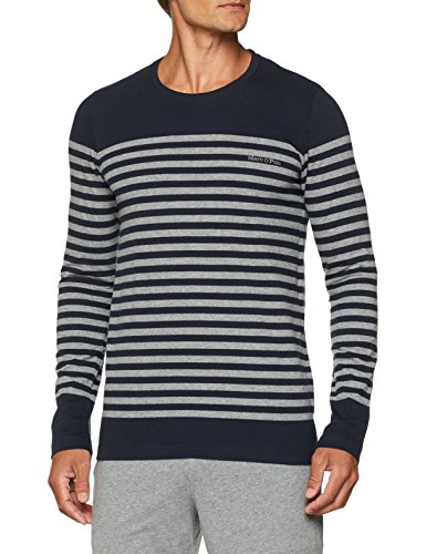 Marc O'Polo Body & Beach Herren Mix M-Shirt LS Crew-Neck Schlafanzugoberteil, Blau (Nachtblau 804), Small