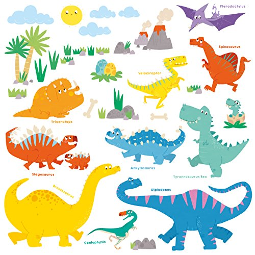 DECOWALL DS-8008 Dinosaurio Colorido Vinilo Pegatinas Decorativas Adhe