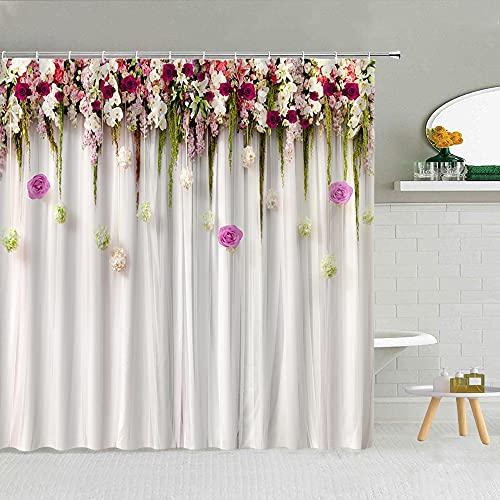 XCBN Lila blomma duschdraperi, vinstockar, blommor och fåglar, badrumsprodukter, tyg med krokar, duschdraperi B 180 x 180 cm