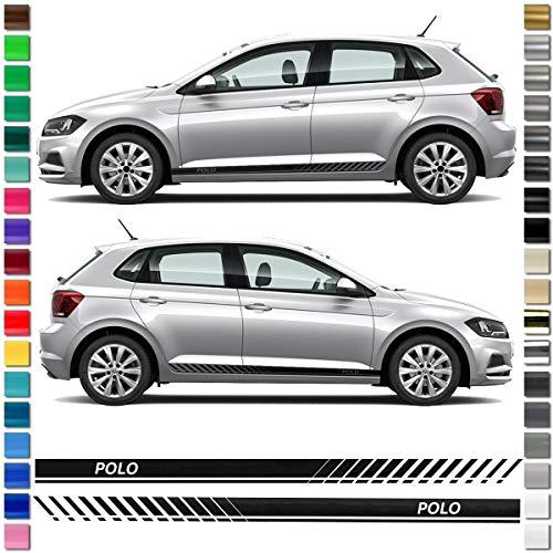 Auto-Dress® Seiten-Streifen Aufkleber Set/Dekor passend für VW Polo in Wunschfarbe (Schwarz-Glanz)