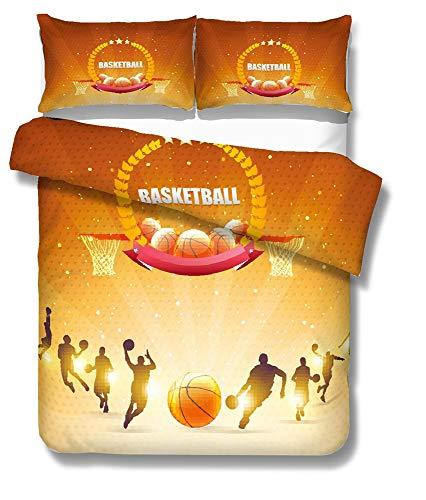 Juego De Cama Funda Nórdica Microfibra Cepillada 3D Estilo Baloncesto Niños Niño Y Niña 1 Funda Nórdica + 2 Funda De Almohada 50x75cm ((220x 240cm)-Cama de 150/160,Campeón)