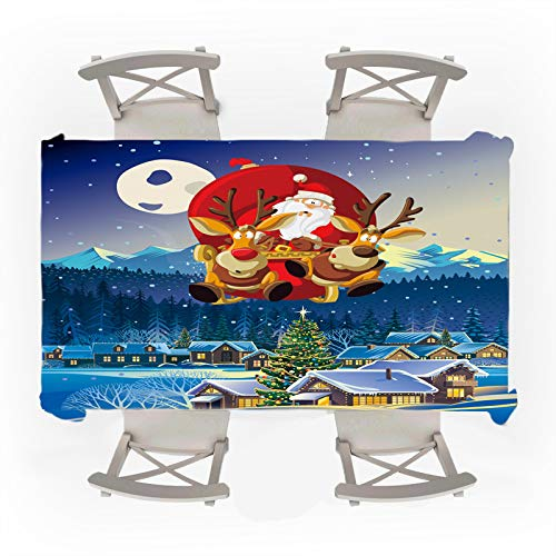 DJUX Mantel navideño Nochebuena carruaje de Alces Entrega de Regalo Mesa Mesa de Comedor Restaurante café decoración navideña 150x210cm