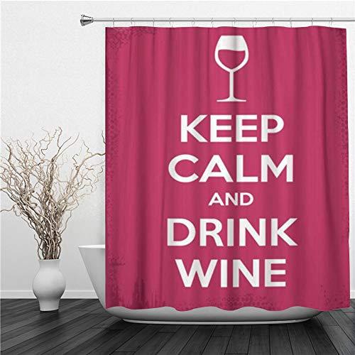 SUHETI Duschvorhang 180x180cm,Rosa Zitat Halten Sie ruhig und Trinken Sie Wein Red Bar Glaswand Alkohol Grenze,Duschvorhang Wasserabweisend-Duschvorhangringen 12 Shower Curtain mit