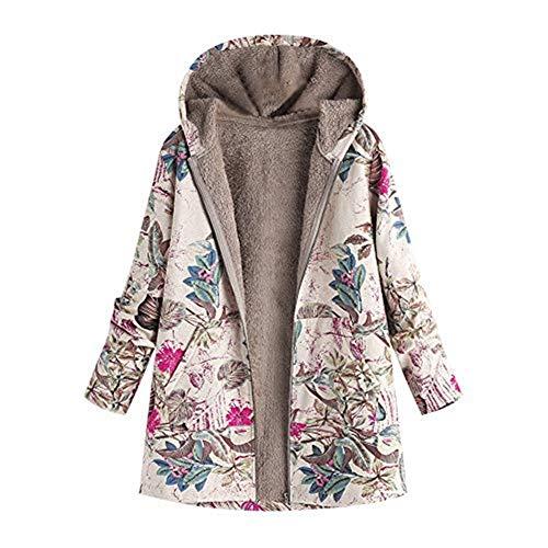 iHENGH Damen Winter Warm Dicker Jacke Outwear Blumendruck Parka Mantel mit Kapuze Taschen Vintage Oversize Coats(Pink,EU-42/CN-S)