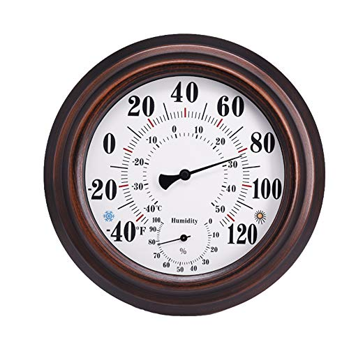NanXi Indoor Outdoor Thermometer, Iron Shell Thermometer and Hygrometer Outdoor Home Celsius Temperature Monitor Large Font Glass Lens High Precision Material for Patio Wall Or Decorative