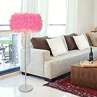 Zxyan フロアライト フロアランプ フロアスタンド ツェッペリンクリエイティブ現代のシンプルな結婚式リバブル誕生日ベッドルームリビングルームハイ - エンドホテルフェザークリスタルタッセルランディングランプアイのお手入れ垂直フロアライト、ダークレッド 仕事 読書 適用 (Color : Pink)