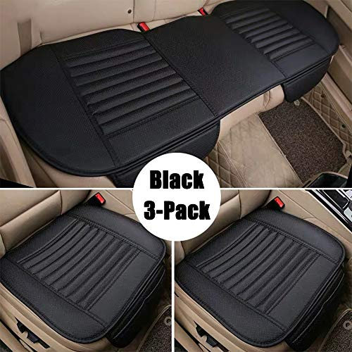 D-Lumina Universal Leather Car Seat Cushion Covers Front & Rear Breathable Seats Bottom Pad Protector Mat Fits Auto (Trucks, Vans, SUV), Black, 3-Pack