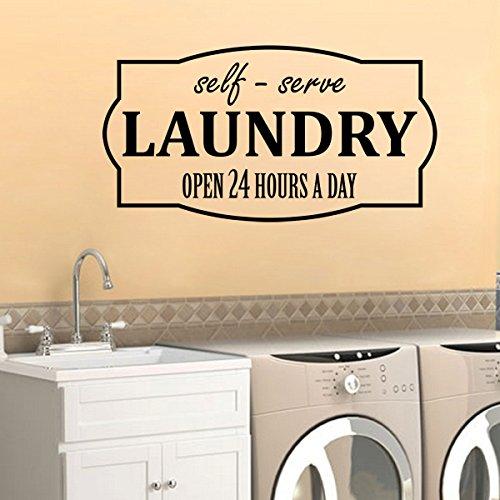 Vinilo adhesivo de pared para lavandería con autoservicio abierto 24 horas, para pared, cuarto de lavandería familiar, lavadora, secadora, ropa divertida, arte limpio y fresco