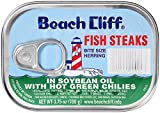 BEACH CLIFF Fish Steaks, Herring, Sardines in Soybean Oil with Hot Green Chilies, High Protein Food, Keto Food, Gluten Free, High Protein Snacks, Canned, Bulk Sardines, 3.75 Ounce Cans (Pack of 18)
