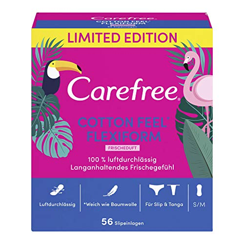 Carefree Slipeinlagen Cotton Feel Flexiform mit Frischeduft, Luftdurchlässig, Für Slip und Tanga, 56 Stück, Größe: S/M
