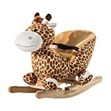 HOMCOM Children Kids Rocking Horse Toys Giraffe Seat Belt Toddlers Baby Toy Gift