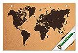 Kork Pinnwand Weltkarte – 90x60cm Bedruckt zum Aufhängen – ideal für Schule – Küchenpinnwand – Lernwand – Memoboard aus Naturkork mit schwarzem Aufdruck und verstärkten Löchern – Korktafel
