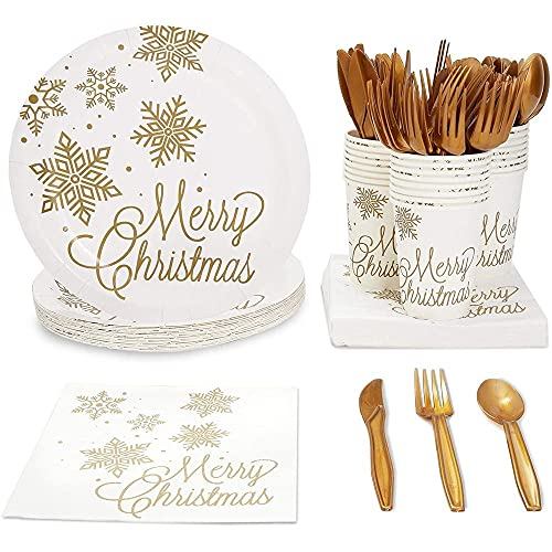 Winter Wonderland Christmas Party Bundle, Includes Paper Plates, Napkins, Cups, and Cutlery (Serves 24, 144 Pieces)