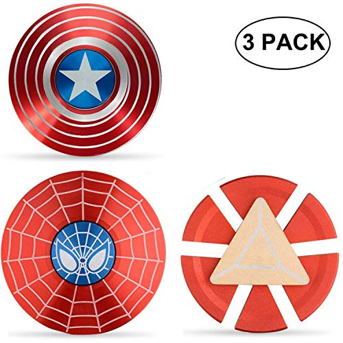 SuperHero Fidgeting Party Favors Fidget Metal Set Hand Spinner Focus Copper Fidget Toys Fingertip Gyro Stress Relief Cube EDC ADHD Toy Best Gifts Xmas Birthday Goody Bag Gifts For Kids Adults(3Pack)