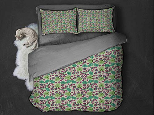 Toopeek Paisley 3-pack (1 duvet cover and 2 pillowcases) Floral Arrangement with Abstract Teardrop Shapes East Asian Traditional Motifs Polyester (Queen) Multicolor
