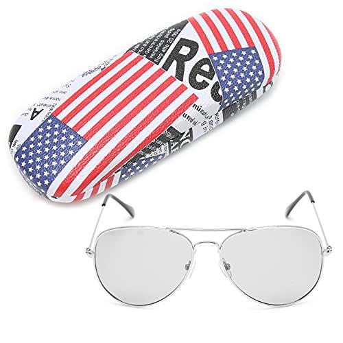 Gafas de Sol polarizadas, UV400 Gafas con Lentes Que cambian de Color 100% Anti-UV Gafas Unisex de Moda Gafas Deportivas Antideslizantes, Fuerte contra la luz Gafas de Sol con Estuche(Marco de Plata)
