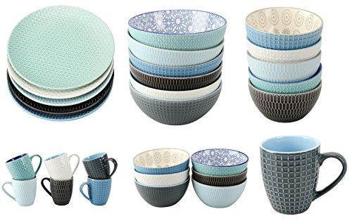 Riyashop Geschirrserie Infinity Kombiservice Keramik Porzellan Serviere Geschirr Kaffeegeschirr Neu (1 x Salatschale)