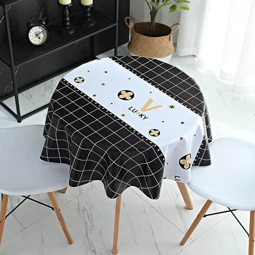 GDLKY - Mantel redondo de PVC para mesa, impermeable, antimanchas, fácil de limpiar, mantel de baldosas simple, apto para interior y exterior (2,120 cm)