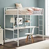 Walker Edison Orion Urban Industrial Metal Double over Computer Desk Bunk Bed, Full Double, White