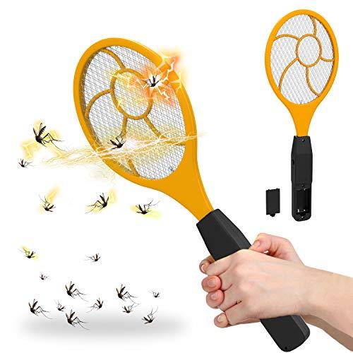 Fullsexy Elektrische Fliegenklatsche Elektro Insektenfalle Insektenvernichter mit hellem LED-Licht in der Dunkelheit für Reisen Camping Ungiftig MEHRWEG (1er)
