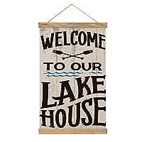 Welcome to Our Lake House タペストリー 掛け画 壁飾り キャンバス 巻物 アートポスター 多機能 部屋飾り 掛け軸 掛け棒 リビングルーム ベッドルーム 新築祝い 個性プレゼント