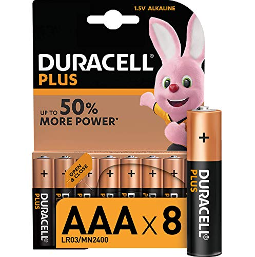 Duracell LR03 MN2400 Plus AAA - Batterie Ministilo Alcaline, Confezione da 8 Pacco del Produttore, 1.5V