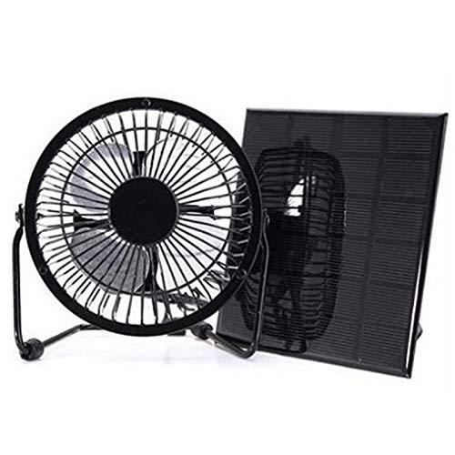 DASNTERED Ventilador accionado por panel solar de 3W 6V, mini ventilador de enfriamiento de la ventilación del panel solar 4 pulgadas ventilador del banco del poder