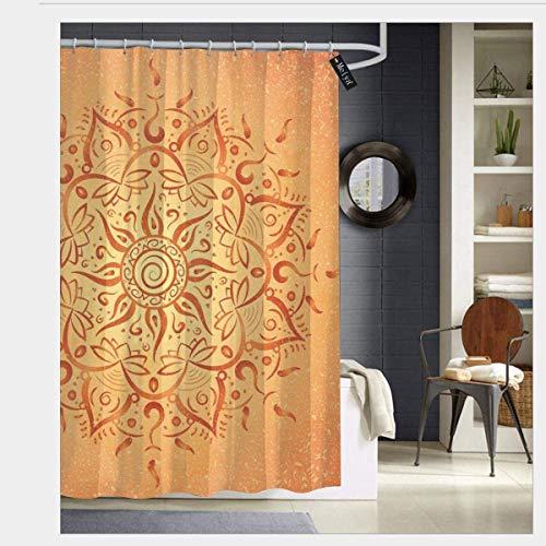 N/A Afrikaanse Tribal etnische zon patroon met Ombre Effect Mandala Figuren Pictogrammen Cultuur Thema Print Waterdichte Douche Gordijn - Water, Zeep, en - Machine Wasbaar 72 x 72 inch