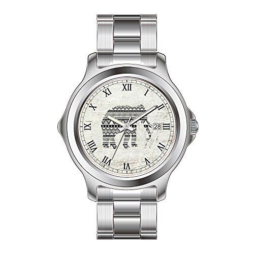 FDC Weihnachten Geschenk Uhren Damen Mode Japanische Quarz Datum Edelstahl Armband Uhr Aztec Tribal Elefant Schwarz Weiß Vintage Holz Armbanduhr