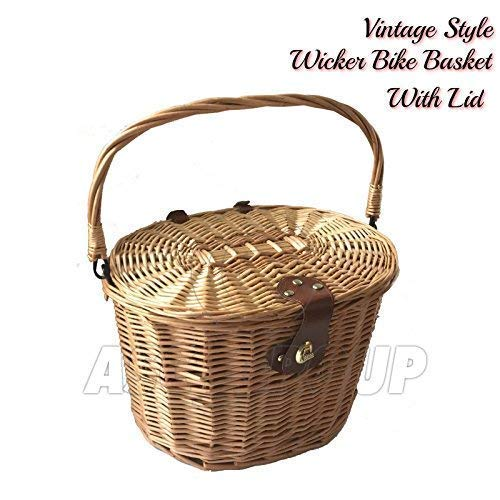 BICYCLE WICKER BASKET SHOPPING BAG WITH LID BIKE CYCLING