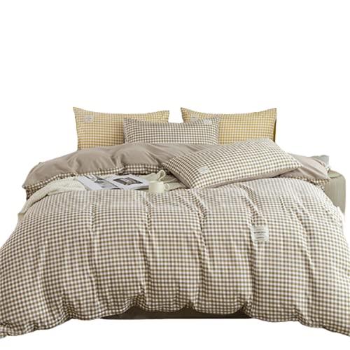 QQSM Ropa de cama de algodón suave de 3 piezas, juego de 4 piezas, sábanas, fundas de almohada, funda de edredón, cama de dormitorio, lavable, multifuncional y práctica, color marrón, 2,0 m