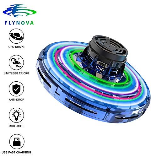 Flynova Mini Drone Flying Toy-UFO Drone Helicopter Flying Spinner for Kids or Adults, Free Flight Paths with 360° Rotating and Shinning Led Lights Use for Group, Indoor, Outdoor (Blue)