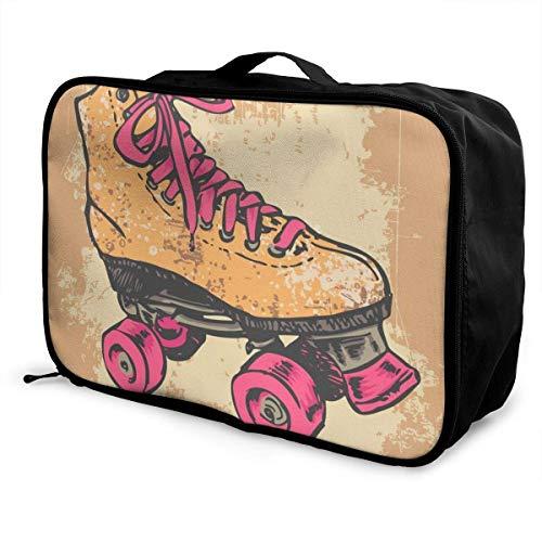Faltbare multifunktionale wasserdichte Reisetasche Aufbewahrungstasche Retro Mexico Flag Leichte, tragbare Gepäcktasche mit großer Kapazität Retro Rollschuh