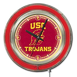 Holland Bar Stool Co. Officially Licensed University of Southern California Double Neon 15 Clock (USC)