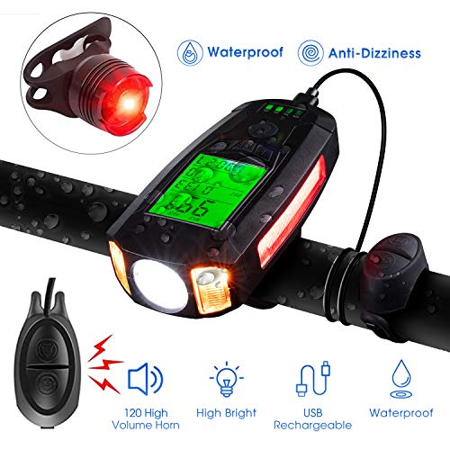 BestGK Bike Light with Bike Speedometer, USB Rechargeable Bicycle Speedometer Waterproof Bike Odometer Light Set with Loud Bike Bell, Cycle Front Light and Tail Light Fits All Mountain & Road Bike