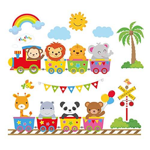 decalmile Pegatinas de Pared Tren de Animales Vinilos Decorativos Elefante Mono León Adhesivos Pared Infantiles Niños Habitación Bebés Guardería