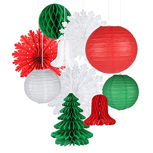 Easy Joy Retro Christmas Decorations Set, Snowflake Paper Fans Jingle Bell Xmas Tree Honeycomb, Hanging Ceiling Wall Decor Party Supplies Photo Back Drop, Set of 10